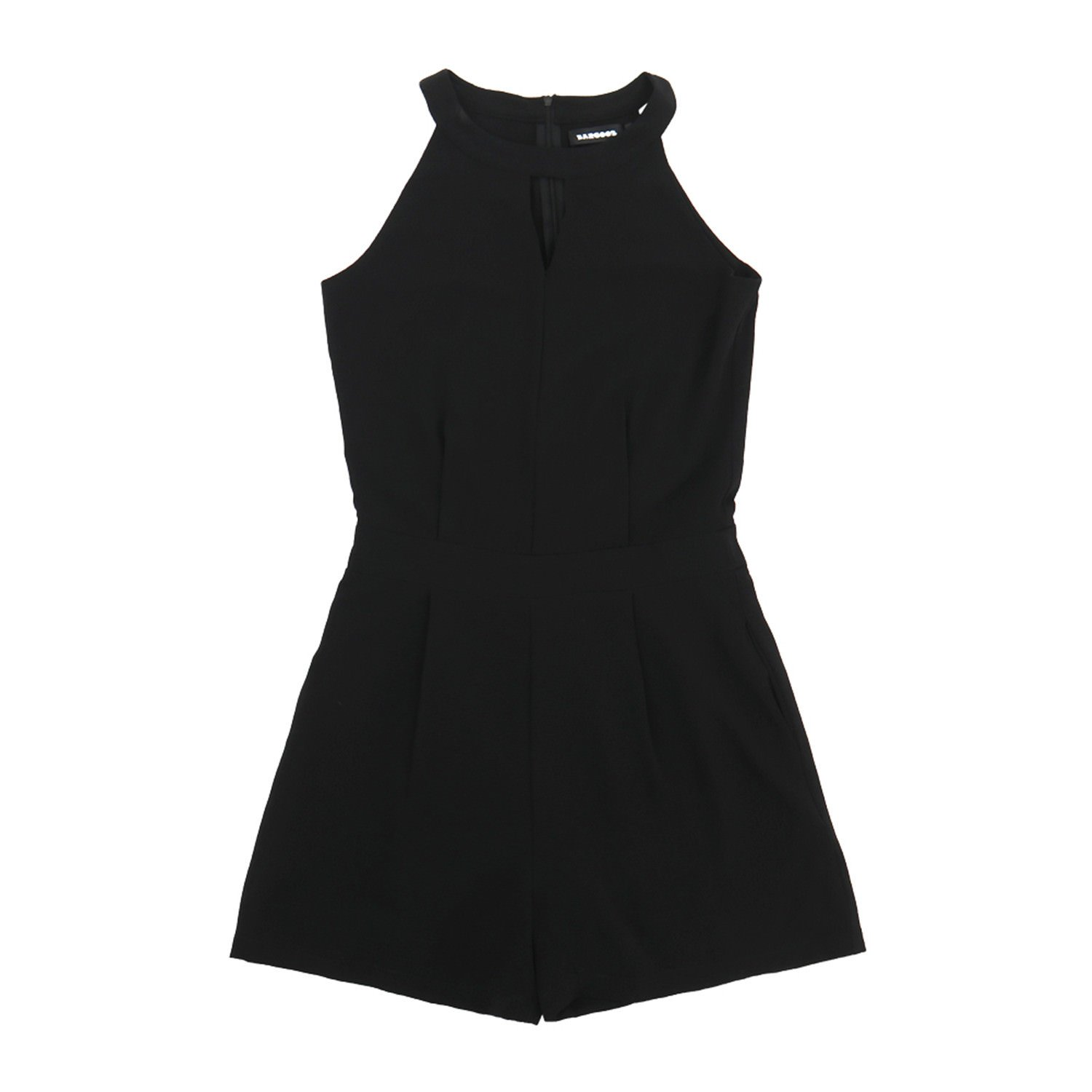BARGOOS Women All-Black Cut Out Halter Neck Rompers Sleeveless Playsuit Summer Casual High Waist Mini Jumpsuits by BARGOOS (Image #2)