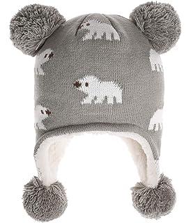 d5cf03d034a ERISO Toddler Baby Girls Winter Hat Fleece Lined Knit Kids Hat with Earflap