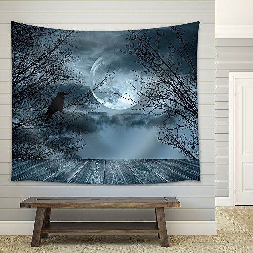 wall26 - Halloween Background with Spooky Forest and Full Moon - Fabric Wall Tapestry Home Decor - 68x80 inches ()