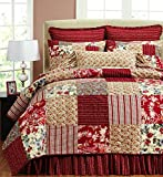 Be-you-tiful French Country Marie Quilt Set, Twin with 1 standard sham, Red