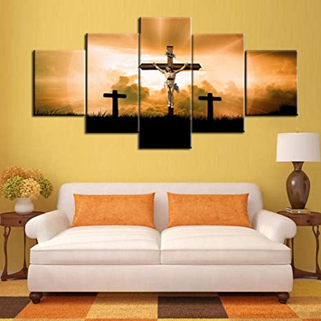 Amazon Com Split Canvas Wall Art Decor Jesus Christ Dying On The Cross Prints Lord Religion Painting 5 Piece Artwork Home Decor For Living Room Picture Framed Ready To Hang Posters And Prints 60 Wx32 H