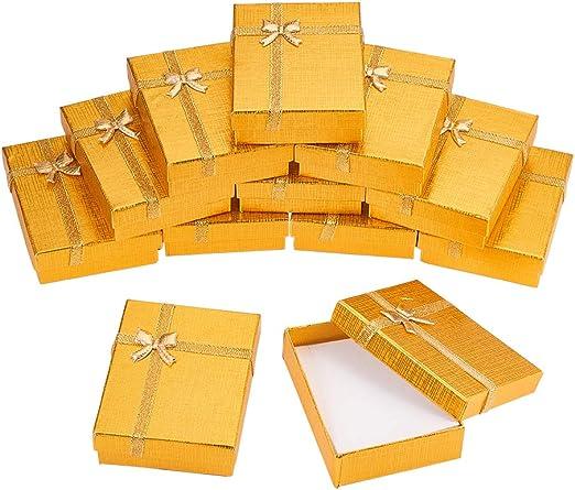 BENECREAT 12 Pack Caja de Regalo Caja de Presentacion de Joyas para Collar Pendientes Aretes de Aniversarios, Bodas, Cumpleaños Dorado - 9x7x3cm: Amazon.es: Hogar