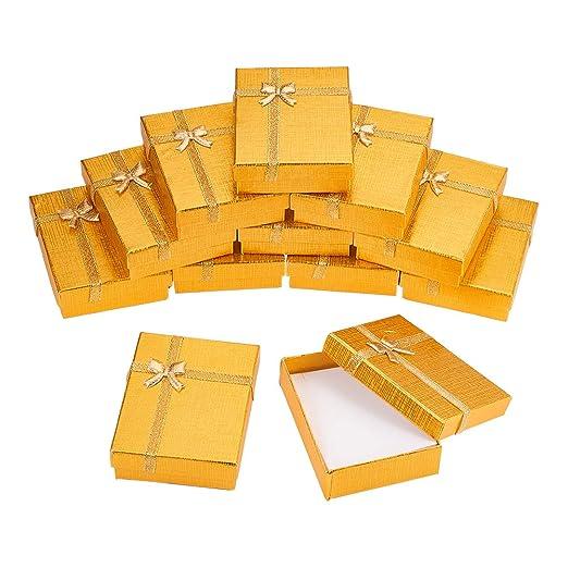 BENECREAT 12 Pack Caja de Regalo Caja de Presentacion de Joyas para Collar Pendientes Aretes de Aniversarios, Bodas, Cumpleaños Dorado - 9x7x3cm