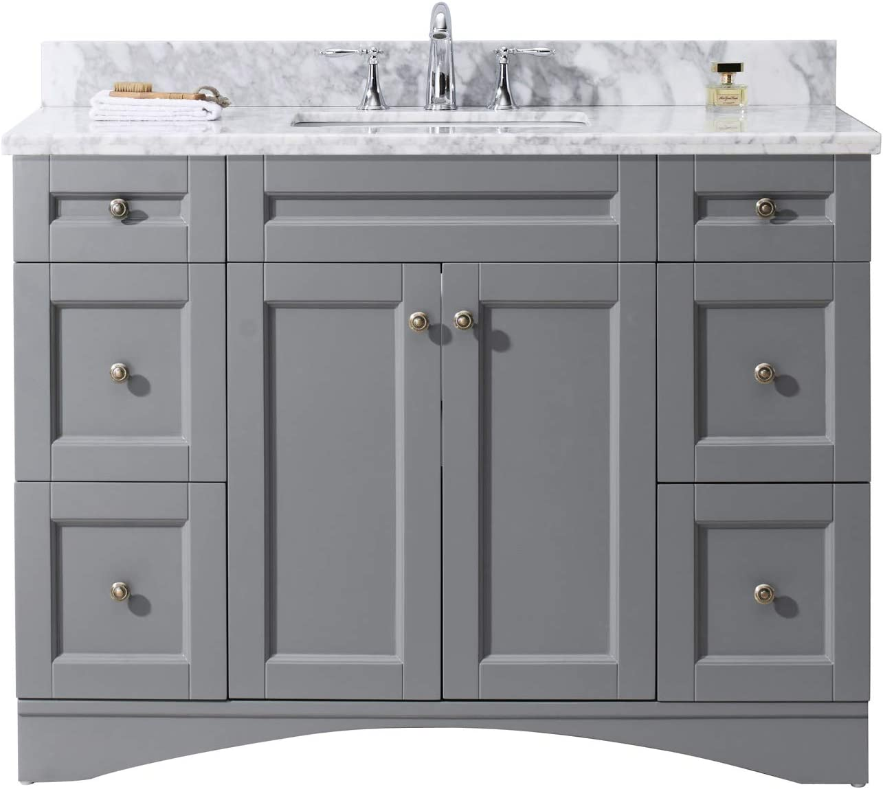 Virtu USA ES-32048-WMSQ-GR-NM Elise 48 Single Bathroom Vanity in Grey with Marble Top and Square Sink, 48 inches, Cool Gray
