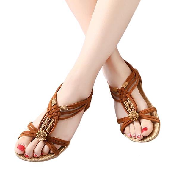 e9dff63f13c2 Etaclover Women s Open Toe Sandals Bohemian Beaded Slingback Woven Rope  Beach Shoes  Amazon.co.uk  Shoes   Bags