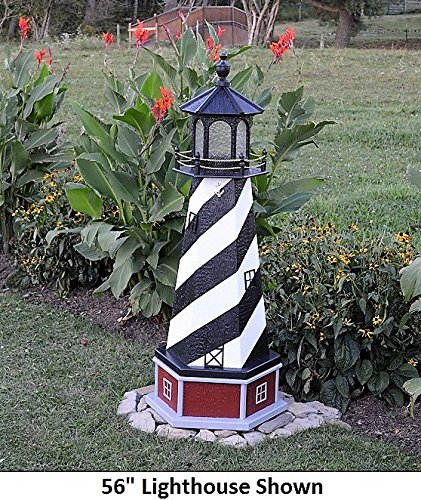 Backyard Crafts Amish-Made Cape Hatteras, NC Replica Lighthouse with Base and Solar-Powered LED Lighting, 70