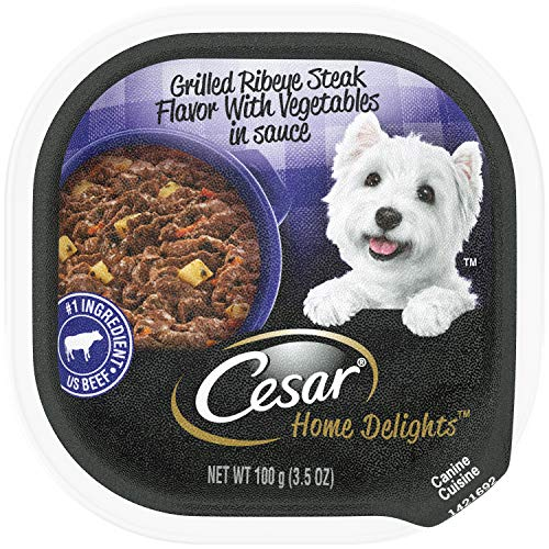(CESAR HOME DELIGHTS Wet Dog Food Grilled Ribeye Steak Flavor With Vegetables in Sauce, (24) 3.5 oz. Trays)