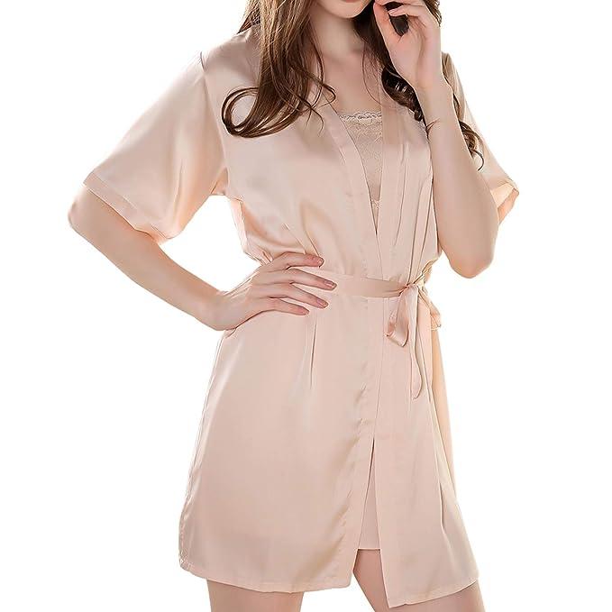 Amazon.com: S~M - Conjunto de pijama de satén de seda con ...