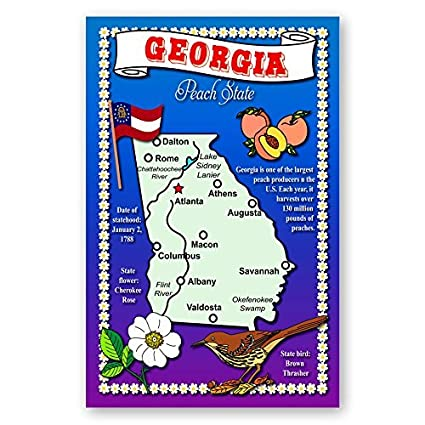 State Map Of Georgia Usa.Georgia State Map Postcard Set Of 20 Identical Postcards Post Cards With Ga Map And State Symbols Made In Usa