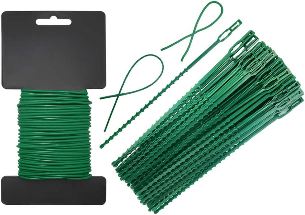 Shintop Garden Vines Ties,80 Pieces Adjustable Plant Twist Ties and 32 Feet Heavy Duty Soft Wire Tie for Garden Support (Green)