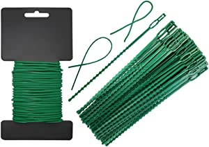 Shintop Garden Vines Ties,80 Pieces Adjustable Plant Twist Ties and 32 Feet Heavy Duty Soft Wire Tie for Garden Support (Green)