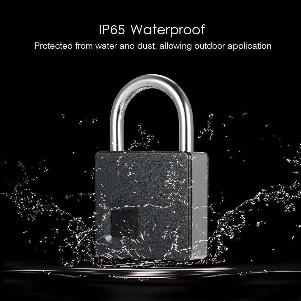 Decdeal Cerradura Inteligente USB Recargable 10 Juegos Huellas Dactilares IP65 Impermeable Antirrobo Seguridad Puerta con Candado Maleta para Equipaje Garaje con 2 Llaves