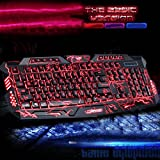 Gotd M200 Backlit Gaming Keyboard with Adjustable Backlight Purple Red Blue USB Wired Illuminated Computer Keyboard