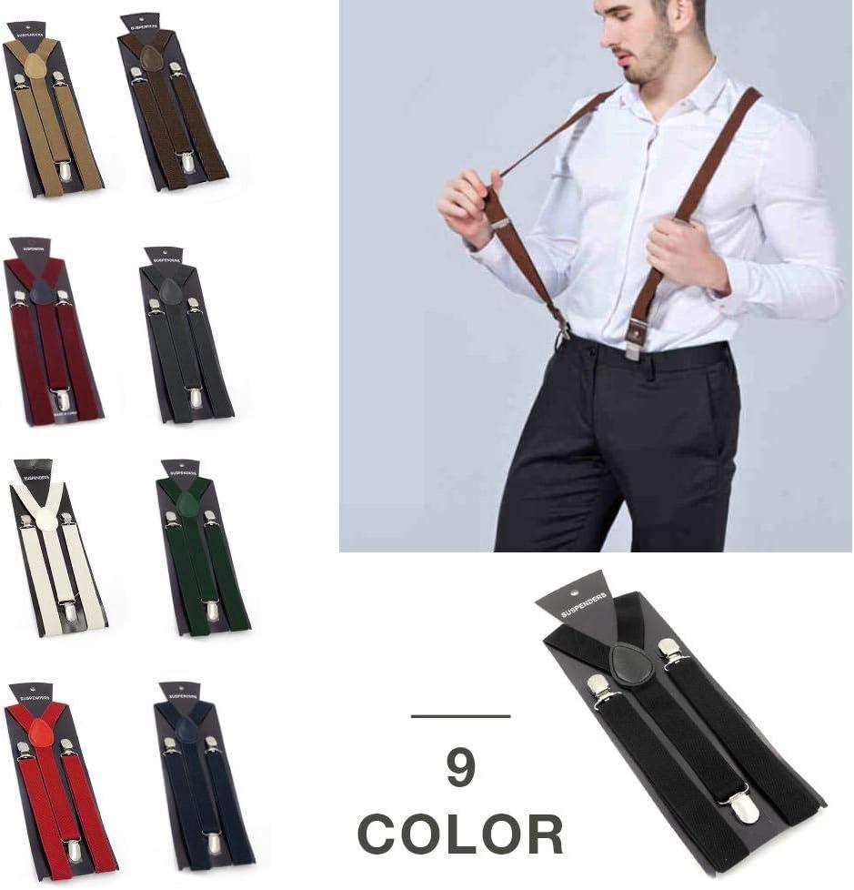 Bretelle Elastiche Unisex Tinta Unita Clip a Forma di Y Bretelle Regolabili Resistenti Clip in Metallo Accessorio Essenziale per Pantaloni da Abito Stile retr/ò Britannico