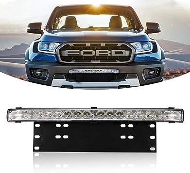 Led Light Bar with License Plate Frame Mounting Bracket Kit 15 inch 50W Number Plate Led Light Bar for Jeep Off-road Vehicles Suv Sedan