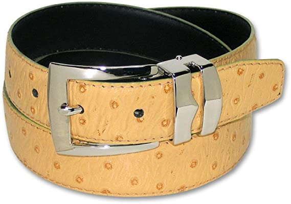 OSTRICH Pattern CHARCOAL GRAY Bonded Leather Men/'s Belt Silver-Tone Buckle