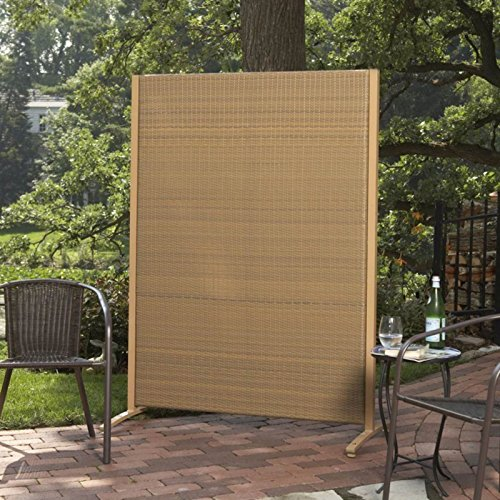 Versare outdoor wicker resin room divider buy online in for Outdoor wood privacy screen