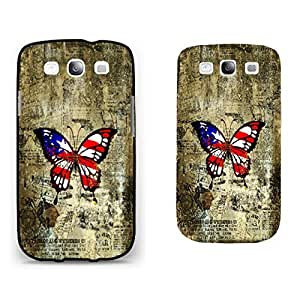 Vintage Old Image Print Hard Plastic Case Cover for Cell Phone Samsung Galaxy S3 I9300 ,Cute Colorful Butterfly Pattern (stripe blacks1162)