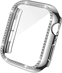 Bling Built in Screen Protector Compatible with Apple Watch Series 6 5 4 SE 44mm Case, Single-Row Sparkling Crystal Diamond Full Hard PC Cover for Women Girls iwatch,Silver