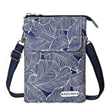 Cell Phone Purse Wallet Canvas Leaf Pattern Small Crossbody Purse Bags For Women(Blue)