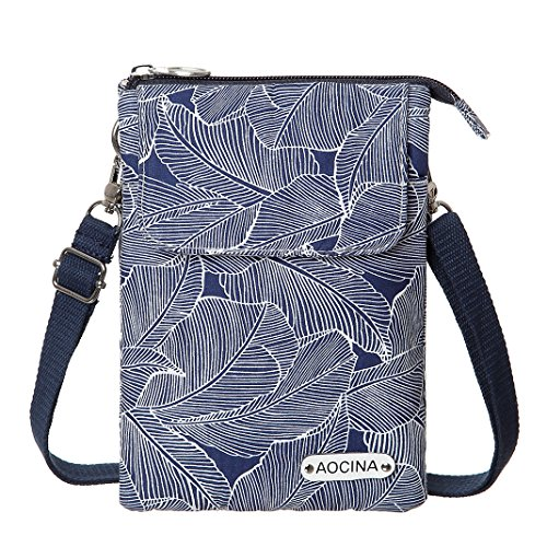 - Cell Phone Purse Wallet Canvas Leaf Pattern Small Crossbody Purse Bags For Women(Blue)