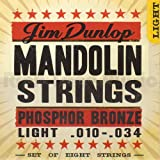 Dunlop DMP1034 Mandolin Strings, Phosphor Bronze, Light, .010–.034, 4 Strings/Set