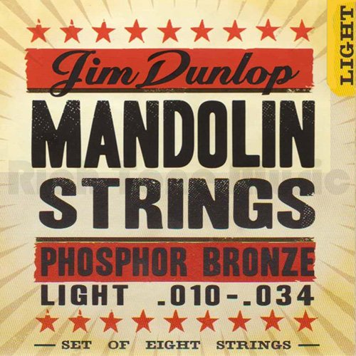 Dunlop DMP1034 Mandolin Strings, Phosphor Bronze, Light, .010–.034, 4 Strings/Set