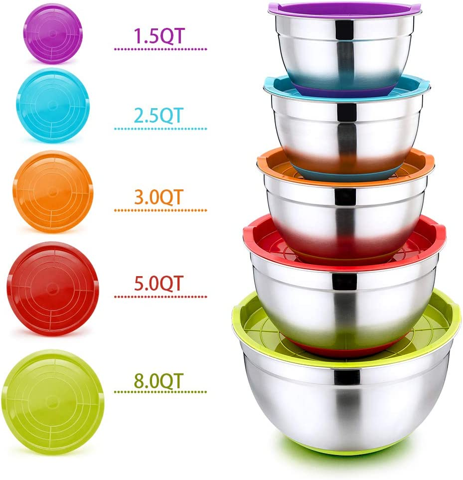 Mixing Bowls with Lids Set of 5, P&P CHEF 10-Piece Stainless Steel Nesting Salad Bowls for Mixing Storing Prepping, Size 8/5/3/2.5/1.5 QT, Clear Measurement Marks & Colorful Non-Slip Base
