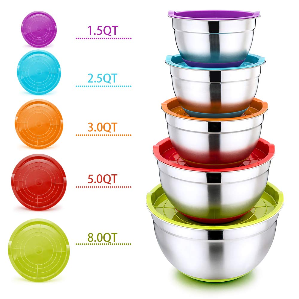 Mixing Bowls with Lids Set of 5, P&P CHEF 10-Piece Stainless Steel Nesting Salad Bowls for Mixing Storing Prepping, Size 8/5/3/2.5/1.5 QT, Clear Measurement Marks & Colorful Non-Slip Base by P&P CHEF
