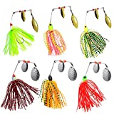 AGOOL Fishing Spinner Baits Kit 6 pcs - Hard Spinner Lures Multicolor Buzzbait Swimbaits Pike Bass