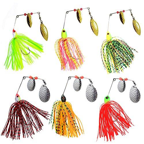 AGOOL Fishing Spinner Baits Kit 6 pcs - Hard Spinner Lures Multicolor Buzzbait Swimbaits Pike Bass