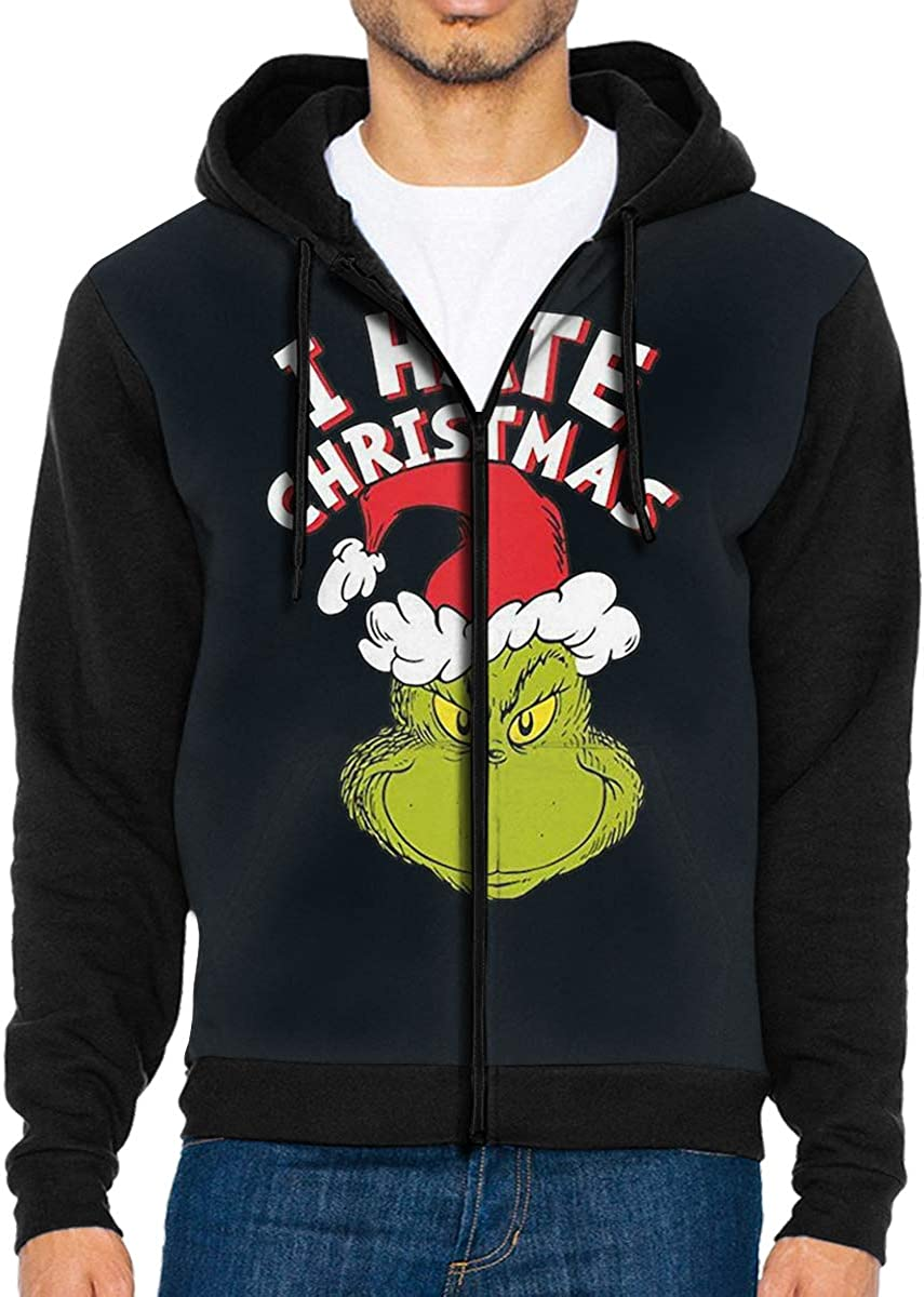 Takeyia Full-Zip Classic Hood Hooded Sweater I Hate ChristmasHoodie for Mans