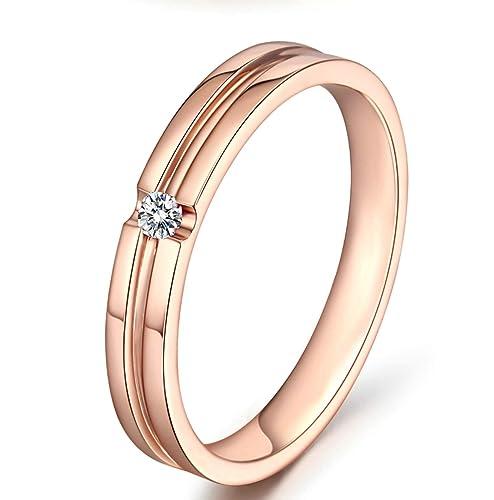 Blisfille Anillo de Compromiso Mujer Oro Blanco Joyería Anillo 18 Kilates de Diamante Anillo de Oro