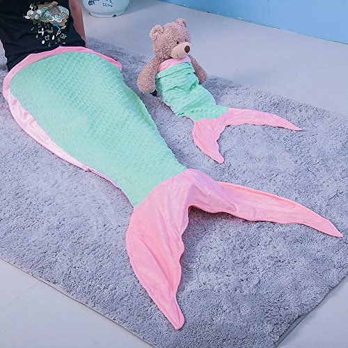 Flannel Mermaid Tail Blanket for Kids Girls Pink Mermaid Sleeping Bag Set