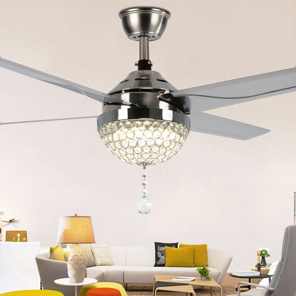 RainierLight Modern Crystal Mute Ceiling Fan Lamp LED Light(Warm ...