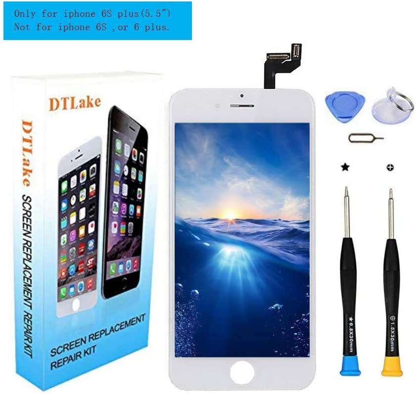 Premium Screen Replacement,Compatible iPhone 6S Plus 5.5inch(Model A1634, A1687) LCD Replacement Screen with 3D Touch Screen Digitizer Fram Assembly Full Set + Free Tools (White)