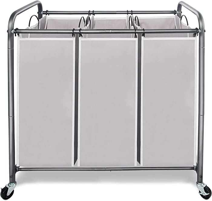 STORAGE MANIAC 3 Section Laundry Sorter, 3 Bag Laundry Hamper Cart with Heavy Duty Rolling Lockable Wheels and Removable Bags, Gray