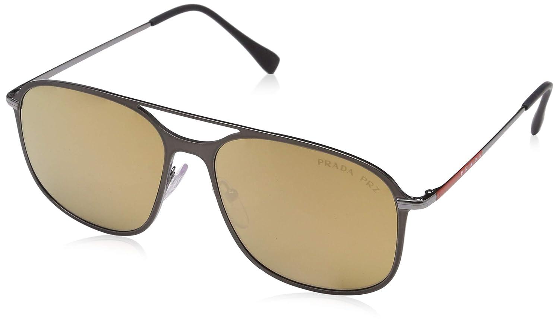 2b86e6eddf Amazon.com  Prada Linea Rossa Men s 0PS 53TS Matte Brown Gunmetal Dark Brown  Mirror Gold Polarized One Size  Clothing
