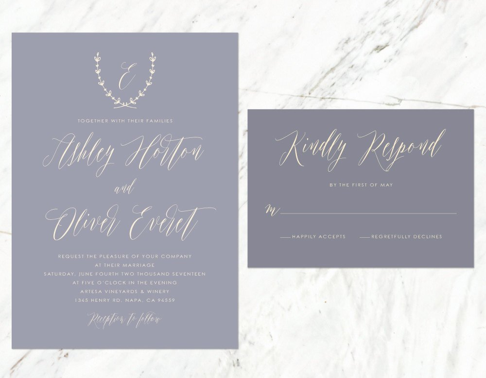 Mauve Wedding Invitation, Vineyard Wedding, Tuscan Invitation, Mauve and Grey, Soft Purple Invitation