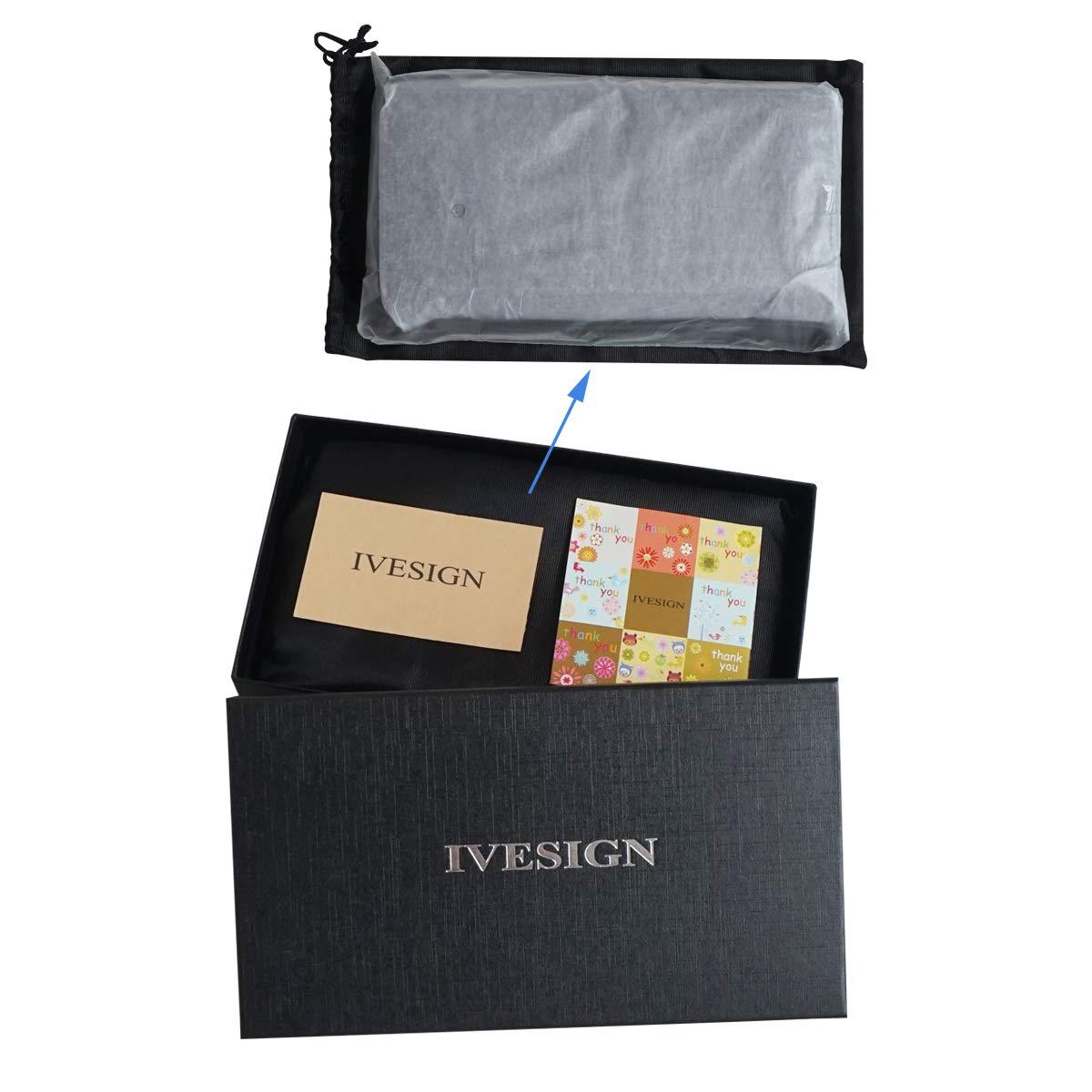 IVESIGN Women\'s Wax Genuine Leather Wallet RFID Blocking Credit Card Holder Organizer Purse With Wristlet (Coffee)