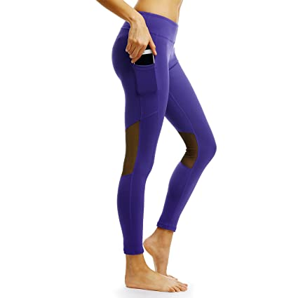 Persit Yoga Pants for Women with Pockets High Waisted Black Capri Workout Leggings Athletic Gym Fabletics Soft Yoga Leggings - Blue - M