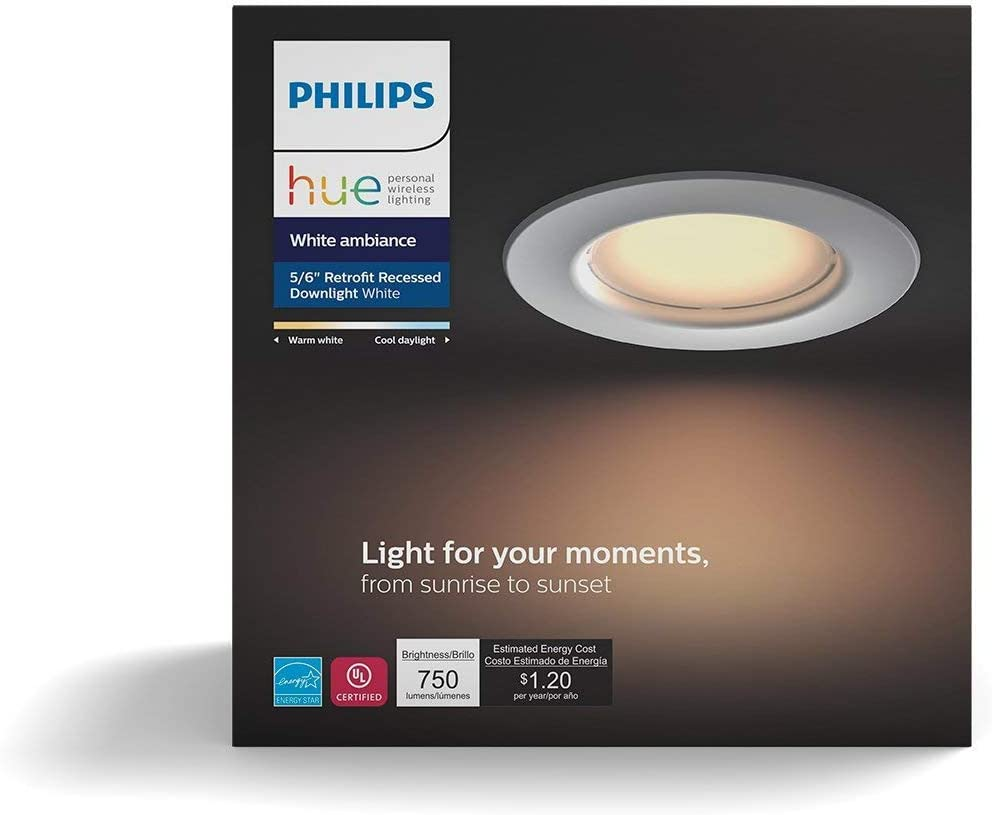 Philips Hue White Ambiance Dimmable LED Smart Retrofit Recessed Downlight Renewed