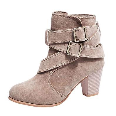 4301a3b60a4d0 Xinxinyu Bottes Chaussures Femme ❤ Mode Bottines en Faux Suède Bretelles  Boucle Bottes de Neige