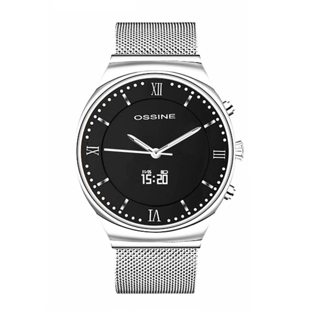 OSSINE X7 Hybrid Smart Watch with Swiss Quartz Movement Sapphire Screen Milanese Magnetic Steel Strap / Heart Rate Monitor /Blood Pressure / Pedometer / Calories / 5ATM Waterproof Gift for men(Silver)