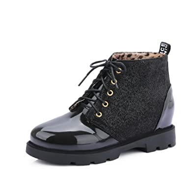 Women's Low-Heels Soft Material Low-Top Solid Lace-Up Boots