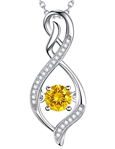 Gifts For Her Citrine Necklace Elegent Infinity Love Pendant Sterling Silver Swarovski Anniversary Jewelry