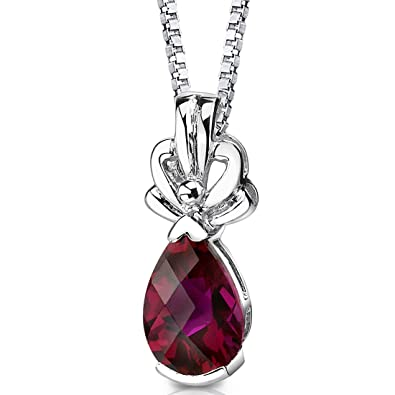 Revoni 925 Sterling Silver Pear Shape Checker Board Cut Ruby Pendant with Necklace of 46cm OkdwkrMp5