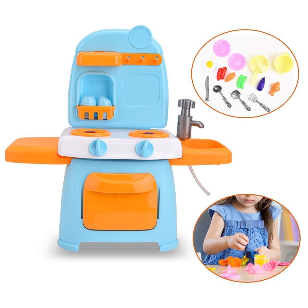 Rollenspiel K/üche Spielset 26 ST/ÜCKE Kinder K/üche Spielzeug Set Kochen Szenen Simulation Mini Kochgeschirr Spielzeug Blau