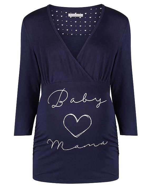 The Essential One - Mujeres Maternidad Pijamas con Lema - Azul Marino - Mujeres: 36/38 - EOM206: Amazon.es: Ropa y accesorios