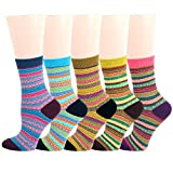 Women Lightweight Pattern Cotton Crew Socks Colorful & Comfort Casual Designs
